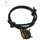 PU Leather Black Cord Bracelet with Skull Charm TBR-0004