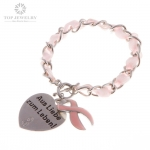 Cord Charm Heart Bracelet Keychain for Pink Ribbon TBR-0019