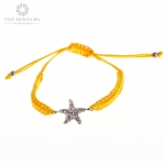 Yellow Waxed Cord Charm Bracelet with Star TBR-0020