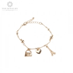 Golden Adjustable Chain Bracelet with Safety Chain TBR-0032