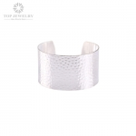 Fashion Silver Cuff Bangle with Shiny Silver Plated and Dot Effect TBR-0013