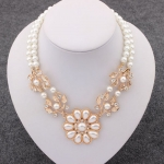 Double layer pearl necklace, fashion metal flower and rhinestone charm necklace TNK-0052