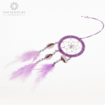 Purple Dream Catcher Design with Shell Charm and Purple Cord TDC-0002