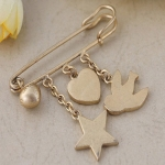 Antique gold brooch with star/heart/bird charm brooch or other customized charm TBO-0010