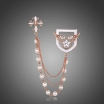 Beautiful elegant chain brooch with pearl beads, gold brooch promotional TBO-0001