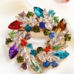 Colorful rhinestone brooch, flower shape metal brooch TBO-0002