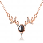 Silver Deer With Your Projection Necklace Female Clavicle Chain