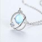 Pure Silver Necklace Female Japanese and Korean Bright Blue Liulin Star Clavicle Chain Simple Jewelry