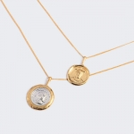 Coin head Necklace double-decked retro fashion pendant exaggerated Necklace