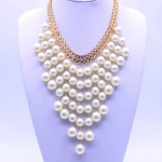 Temperament fashion necklace multi-layer pearl necklace fringed pearl exaggerated clavicle chain lady sweater chain