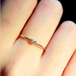 14K gold-plated ring with fresh zircon-inlaid diamond extremely slender girl's love ring
