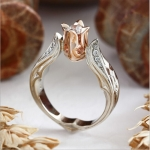 Rose color separation simulation diamond ring