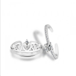 Fashion Style Women's Crown Heart Double Ring