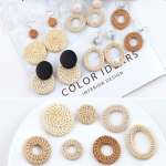 DIY Jewelry Accessories Holiday Style Exaggerated Geometry Round Grass Rattan Braided Earrings