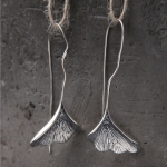 Van Silver Silver S925 Pure Silver Literature and Art Leaf Earrings