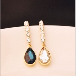Golden Gemstone Earrings with Drill Studs and Water Droplets