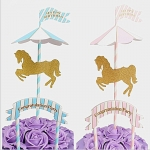 Carousel Theme Card Insertion, Party Supplies, Children's Birthdays Full Moon and One Year Old, Cake Decoration Flag Insertion