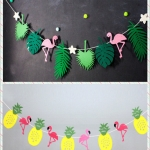 Tropical Rainforest Pineapple Flamingo Flower Pulling Kindergarten Children's Room Flag Pulling Decorative Flag Party